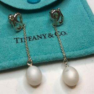Silver Elsa Peretti Open Wave Pearl Drop Earrings